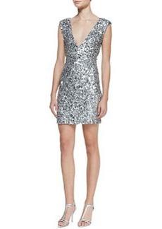 Alice + Olivia Deep V-Neck Sequin Dress