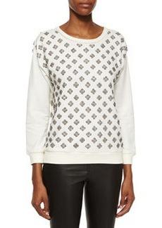 Alice + Olivia Drew Embellished-Front Sweatshirt