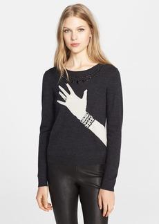 Alice + Olivia Embellished Intarsia Knit Sweater