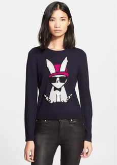 Alice + Olivia Embroidered Bunny Intarsia Knit Sweater