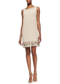 Alice + Olivia Emile Crepe Embroidered Sleeveless Dress