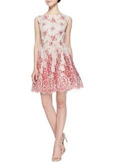 Alice + Olivia Fila Lace-Overlay Full-Skirt Dress
