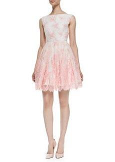 Alice + Olivia Fila Lace-Overlay Sleeveless Dress, Pink Icing