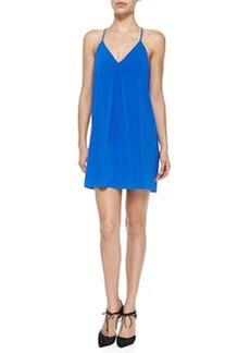 Alice + Olivia Firerra Y-Back Stretch-Silk Dress