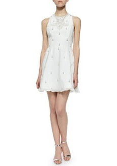 Alice + Olivia Gilda Embellished Lace-Back Dress, Off White