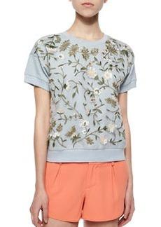 Alice + Olivia Gloria Embroidered Short-Sleeve Sweatshirt