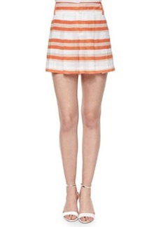 Alice + Olivia High-Waist Striped Pleated Shorts