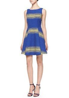 Alice + Olivia Holis Striped Jacquard A-Line Dress