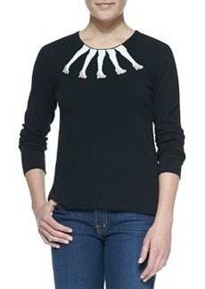 Alice + Olivia Intarsia Legs Design Crewneck Sweater