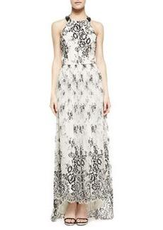 Alice + Olivia Isla Leather/Chiffon T-Back Long Dress