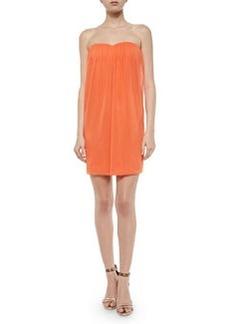 Alice + Olivia Jazz Center-Drape Strapless Dress, Coral