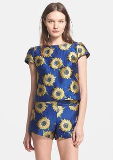 Alice + Olivia 'Jorgie' Sunflower Jacquard Crop Top