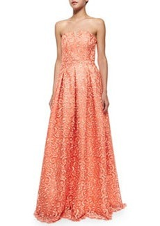 Alice + Olivia Kamila Strapless Embroidered Scroll Gown