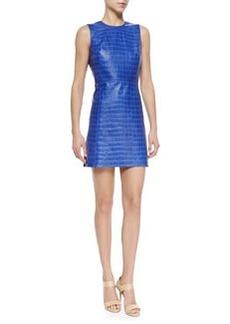 Alice + Olivia Kasia Croc-Embossed Leather Dress