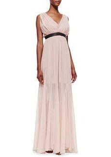Alice + Olivia Kendrick Leather-Waist Chiffon Gown