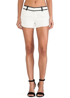 Alice + Olivia Leather Trim Butterfly Shorts in Ivory