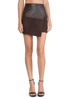 Alice + Olivia Leather Wrap Mini Skirt