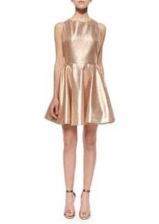 Alice + Olivia Lia Metallic Open-Back Dress