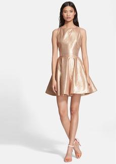 Alice + Olivia 'Lia' Metallic Silk Fit & Flare Dress