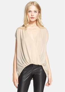 Alice + Olivia 'Lilah' Cross Drape Stretch Silk Top