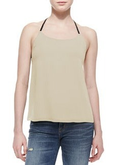 Alice + Olivia Lindsay Leather-T-Back Silk Top
