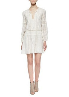 Alice + Olivia Margaux Embroidered Smock-Waist Dress