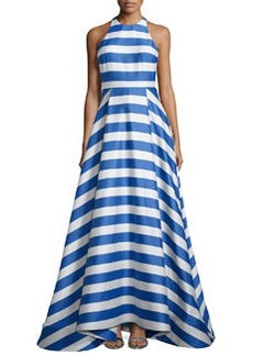 Alice + Olivia Marsha Striped Sleeveless Gown, Blue/White