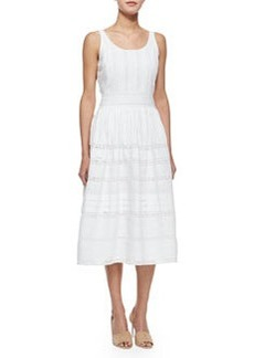 Alice + Olivia Myrtle Eyelet Midi Dress, White