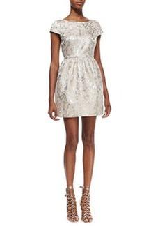 Alice + Olivia Nelly Metallic-Jacquard Short-Sleeve Dress