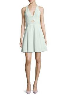 Alice + Olivia Nina Cutout Swingy Crepe Dress