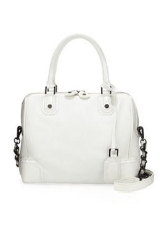 Alice + Olivia Olivia Pebbled/Patent Satchel Bag, White