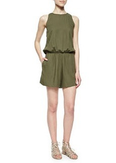 Alice + Olivia Open-Back Sleeveless Romper, Olive