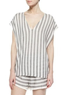 Alice + Olivia Oversize Striped Cap-Sleeve Sweater