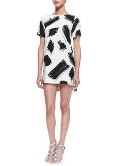 Alice + Olivia Phebe Paintbrush-Print Shift Dress