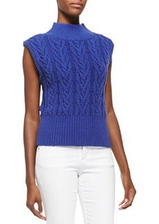 Alice + Olivia Queena Cable-Knit Sleeveless Sweater