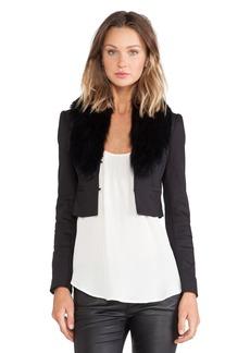 Alice + Olivia Ridley Blue Fox Fur Collar Cropped Blazer