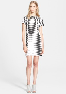 Alice + Olivia Roll Sleeve Stripe Jersey Tunic Dress