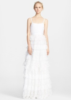 Alice + Olivia Ruffle Tiered Lace Gown