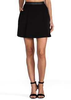 Alice + Olivia Sandi Leather Detail A-Line Skirt in Black