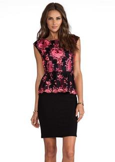 Alice + Olivia Shovan Lace Detail Peplum Dress in Black