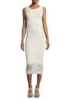 Alice + Olivia Stila Smooth/Floral-Pointelle Knit Dress