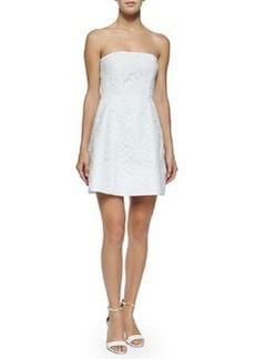 Alice + Olivia Strapless Eyelet Dress, White