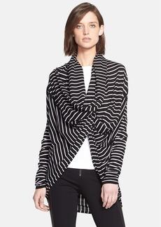 Alice + Olivia Stripe Drape Front Wraparound Sweater