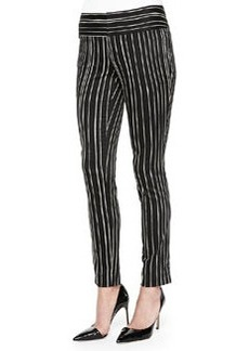 Alice + Olivia Striped Low-Rise Slim Trousers