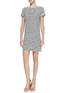 Alice + Olivia Striped Slub Cuff-Sleeve Dress