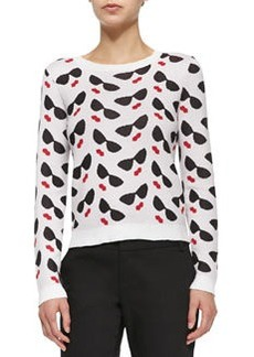 Alice + Olivia Sunglasses/Lips Printed Knit Sweater