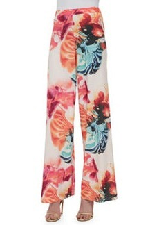 Alice + Olivia Super Flared Wide-Leg Floral-Print Pants