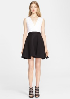 Alice + Olivia 'Tobin' Mixed Media Fit & Flare Dress