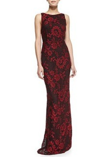 Alice + Olivia Veda Lace Open-Back Gown