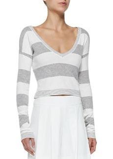 Alice + Olivia Wide-Stripe Cropped Knit Top